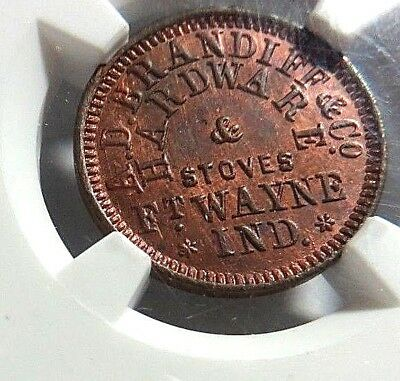 """MS - 64 RED/BROWN - FT. WAYNE, IND. """"COOKING STOVE"""" 290D - 1a - NGC MS -64 - NR"""