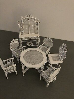 Miniature Furniture Dollhouse Set • Metal Wire •White Wicker 'Look' •Dining Room