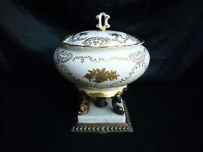 Reichenbach Germany Porcelain Covered Dish on Pedastal Brass Base
