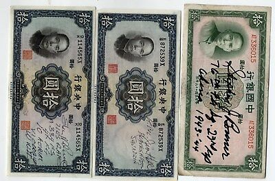 WWII Flying Tigers & Black Sheep aces signed 1930s Chinese bank note collection.