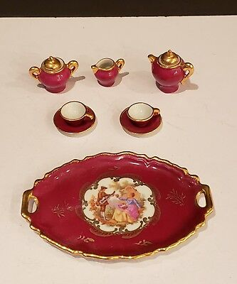 Limoges France Miniature Porcelain Teaset   Courting Couple on Tray