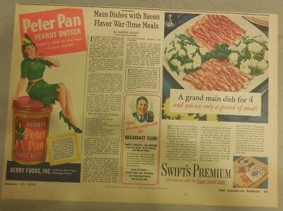 Peter Pan Ad for Derby's Peanut Butter from 1940's 11  x 15 inches