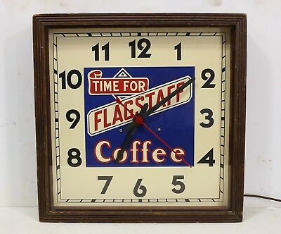 """VINTAGE """"Time For FLAGSTAFF COFFEE"""" General Grocery Store Advertising Clock Sign"""