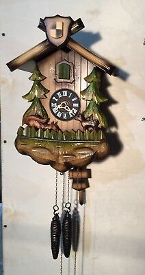 Adorable Black Forest Hand Carved Cuckoo Clock With Feeding Critters-Germany!