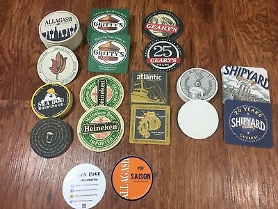 Huge Lot of Maine Beer Cardboard Coasters +Extras Allagash Sea Dog Atlantic More