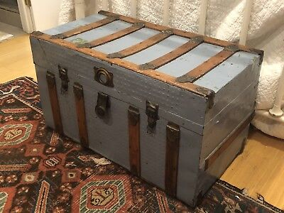Antique Steamer Trunk Chest Wood With Metal Hardware Painted