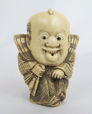Vintage ? Peabody Essex Museum Asian Japanese Chinese Man w/ Tongue Out Netsuke