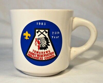 Vtg 1983 Boy Scouts of American Coffee Mug, Tomahawk Scout Reservation Camp, BSA