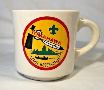 Vintage Boy Scouts of American Coffee Mug, Tomahawk Scout Reservation Camp, BSA