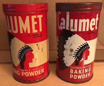2 Vintage Calumet Chief Baking Powder Tin Canisters 1 Lb