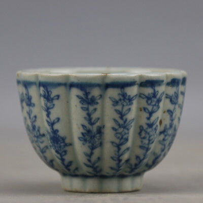 Chinese Old Blue and White Flower Pattern Lotus-Mouth Porcelain Tea/Wine Cup