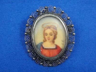 Antique Italian 800 Silver Hand Painted Artist Signed Lady Portrait Pin Brooch