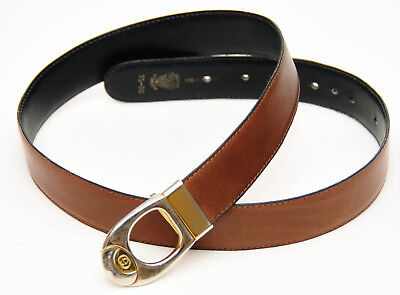 Gucci~Vintage Women's Brown & Black Leather Reversible Belt #75-30~Size Small