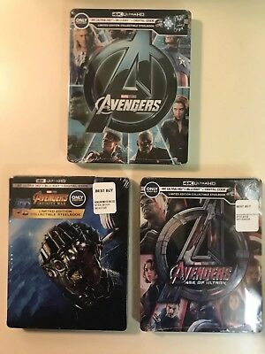 Avengers | Age of Ultron | Infinity War (4K UHD/Blu-ray) Steelbooks - NEW