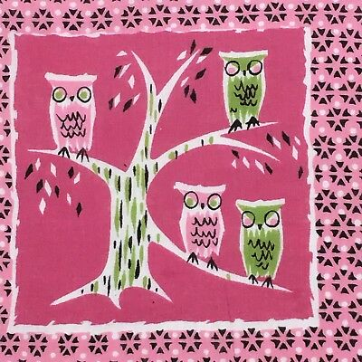 Vintage Signed Don Hankie-Owls sitting in a tree pink & green~Rare & fun