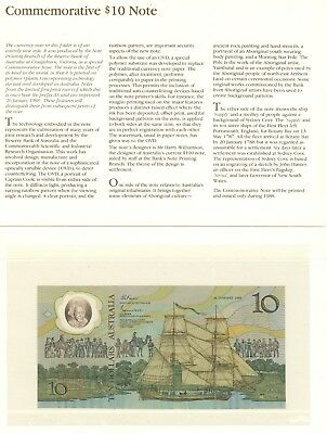 COMMEMORATIVE AUSTRALIA 10 DOLLAR NOTE 1988 WORLD 1st POLYMER  BANK NOTE