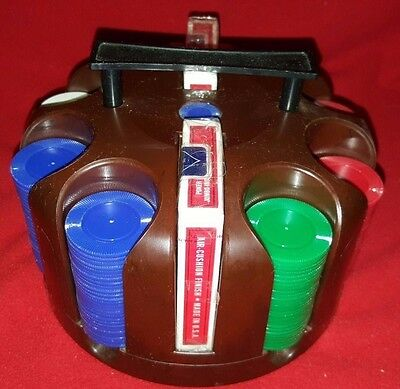 Vintage Crisloid Plastic Poker Chip Carousel W 225 Chips & 2 Decks Of Play Cards