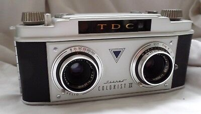 Vintage TDC Colorist II 35 mm Stereo Camera w/Leather Case - For parts/repair