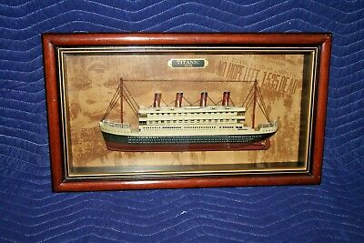 """Vintage Hanging 24x13"""" Wood Framed Bow Side-Profile Titanic Model in Shadow Box"""