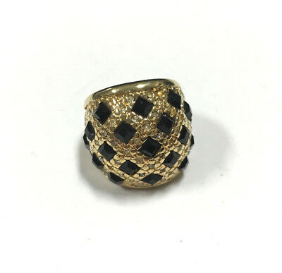 Vintage PAVE Rhinestone & Black CRYSTAL 18K HGE Wide Band Ring Size 4-4.5 DD189e