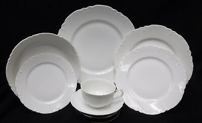 HAVILAND china Limoges France RANSON White 7-piece Place Setting + Luncheon Soup