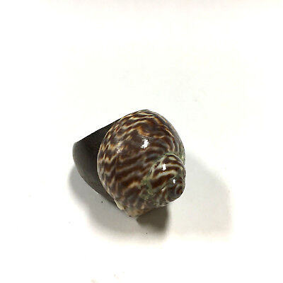 Vintage Big Bohemian Brown Carve WOOD & SEA SHELL Nautical Ring size 7.5 DD48e