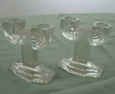 Vintage pair of Art Deco modernist glass candle holders