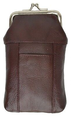 Cigarette Leather Case [Burgundy] w/ Lighter Pouch & Clip Top Regular and 100's