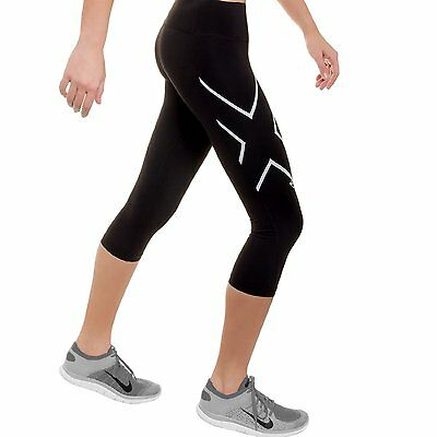 2XU Hyoptik Womens Compression 3/4 Mid-Rise Tights SMALL S STEEL/BLACK REFLECT