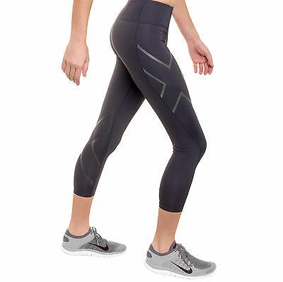 2XU Hyoptik Womens Compression 7/8 Mid-Rise Tights Large L STEEL/BLACK REFLECT