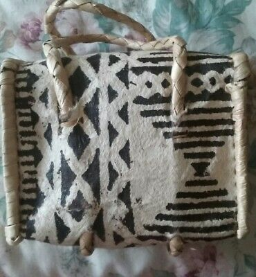 1970s Hawaiin Woven Palm Purse & 2 Necklaces