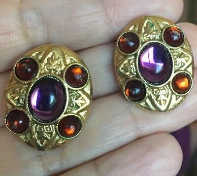 Stunning Vintage Antique Style Byzantine Etruscan Gold Maltese Cross Earrings