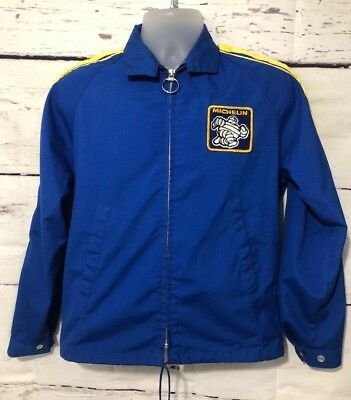 Rare Vintage Mens Michelin Man Tires Racing Swingster Jacket Coat Small S