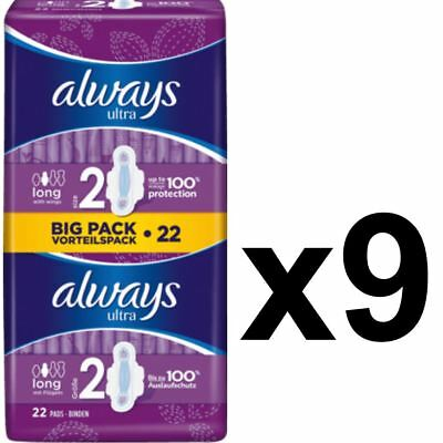 Always Ultra Long Serviettes Hygiéniques Tampons Taille 2 Wings Femmes