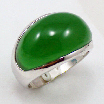ESTATE FINE 18K White Gold Filled Natural green jade Men's ring size: 8
