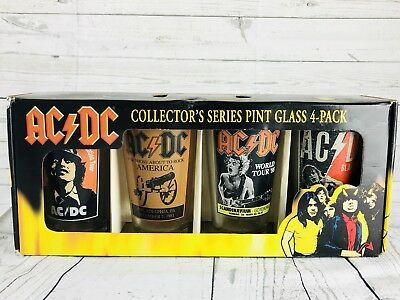 AC/DC Pint Glass 4-Pack Collectors Series World Tour 88 About To Rock Cups. NEW
