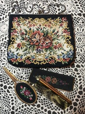 Vintage Evening Purse Black Tapestry Bag Floral Embroidered Little Hand Mirror