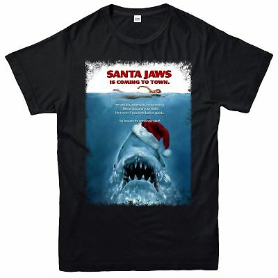 Jaws Christmas T-Shirt, Horrible Sharks Santa Xmas Festive Adult & Kids Tee Top