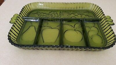 Depression Glass Green Indianna Fruit Tray