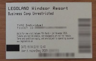 Legoland Windsor unrestricted 'any day' tickets. Valid until 31st Oct 2018.