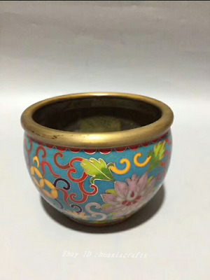 9.5cm collect China Old Brass Bronze Cloisonne Handmade Small cylinder HHHH
