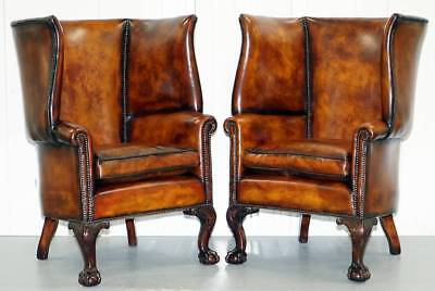 Pair Of Huge Claw & Ball Barrel Back Porters Wingback Armchairs Brown Leather