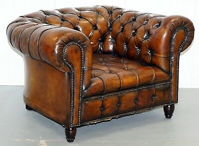Rare Victorian Horse Hair Fully Restored Brown Leather Chesterfield Armchair