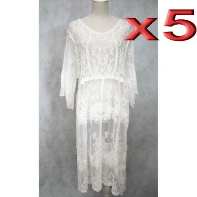 5pc Wholesale Long Women Lace Embroidery Vintage Dress Free Size