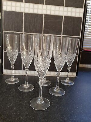 SET of 6 D'ARQUES LEAD CRYSTAL CHAMPAGNE FLUTES GLASSES 210mm