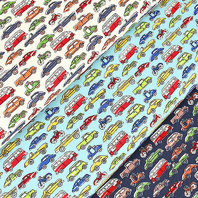 Cotton Fabric FQ Bicycle Vespa Scooter Motorcycle Car VW Van Truck Cartoon VS24