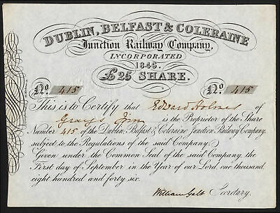 Ireland: Dublin, Belfast & Coleraine Junction Railway Co., £25 share, 1846