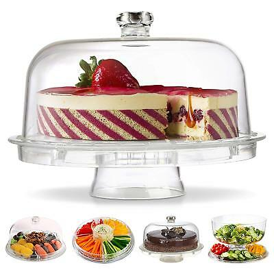6in1 Cake Stand With Dome Punch Salad Bowl Chip Dip Platter Cupcake Holder Case