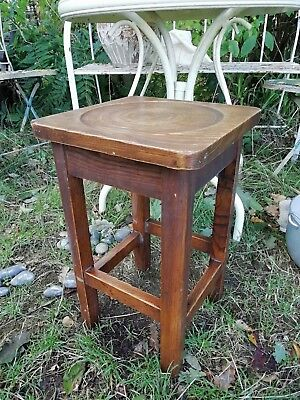 Vintage 1930's Wooden Solid Oak Industrial Stool Plant Stand Lamp Side Table