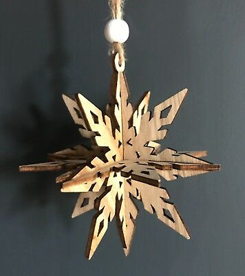 Wooden 3D Snowflake Xmas Bauble, Rustic Nordic Vintage Style Hanging Decoration